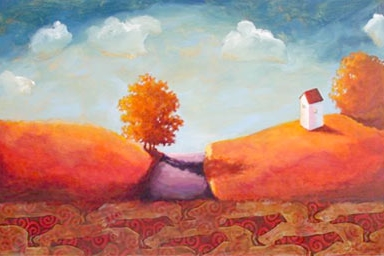 Down the Road,  2006 Acrylic on canvas 24 x 39 inches