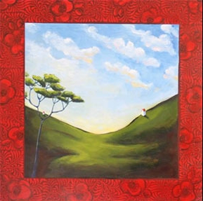 Two on the Hill,  2006 Acrylic on canvas 24 x 24 inches