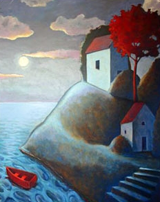 Moonlight on our Island,  2007 Acrylic on canvas 60 x 48 inches