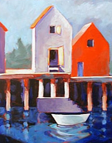 On the Pier , 2007  Acrylic on canvas 20 x 16 inches