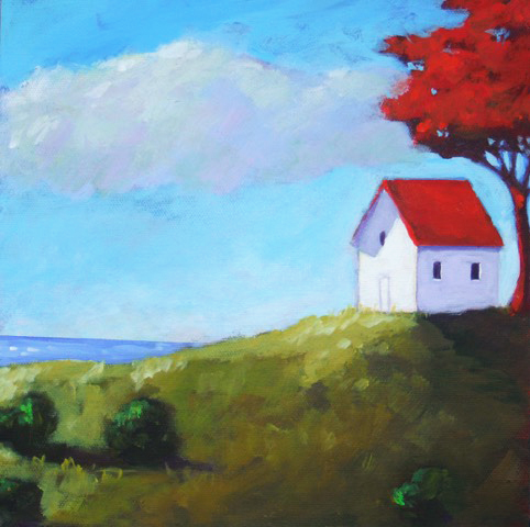 On Top of the Hill , 2010 Acrylic on canvas 10 x 10 inches