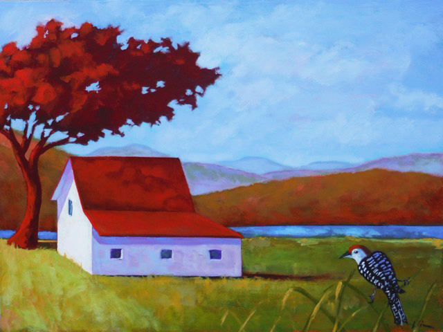 Red Roofed Barn in Maine,  2016 Acrylic on canvas 18 x 24 inches