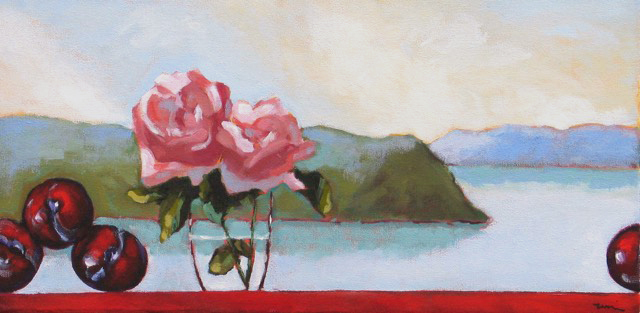 Plums and Roses,  2016 Acrylic on canvas 10 x 20 inches