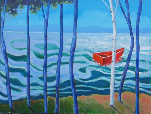 One Birch on the Shore,  2016 Acrylic on canvas 30 x 30 inches