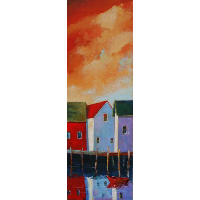 Morning Sky Over the Harbor,  2016 Acrylic on canvas 12 x 36 inches