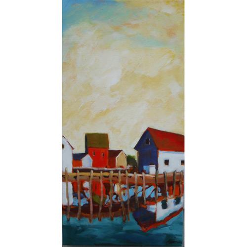 Quiet Harbor,  2016 Acrylic on canvas 10 x 20 inches