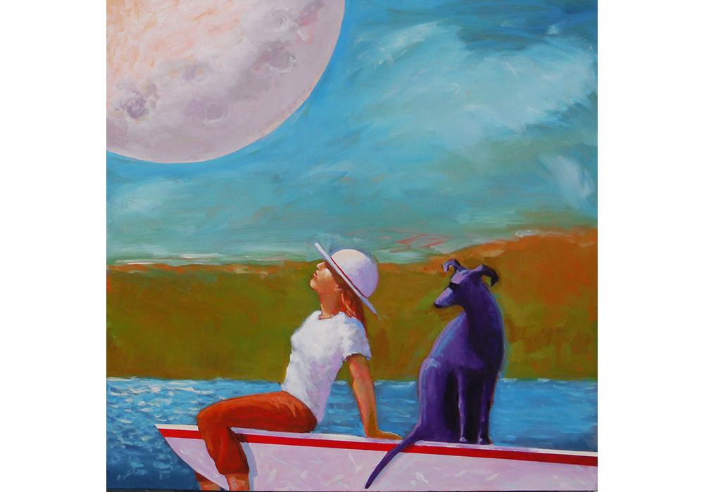 Moon Gazing, 2017 Acrylic on canvas 36 x 36 inches