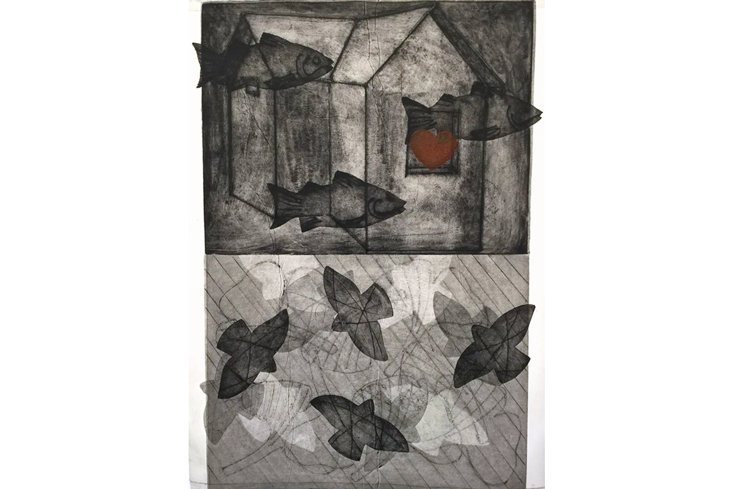 Shelter Series  Monoprint 24 x 30 inches