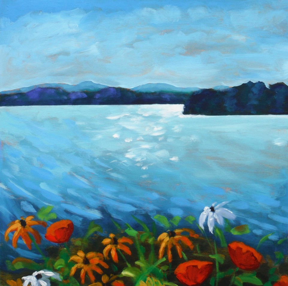 Wild Flowers On the Lake,  2017 Acrylic on wood 30 x 30 inches