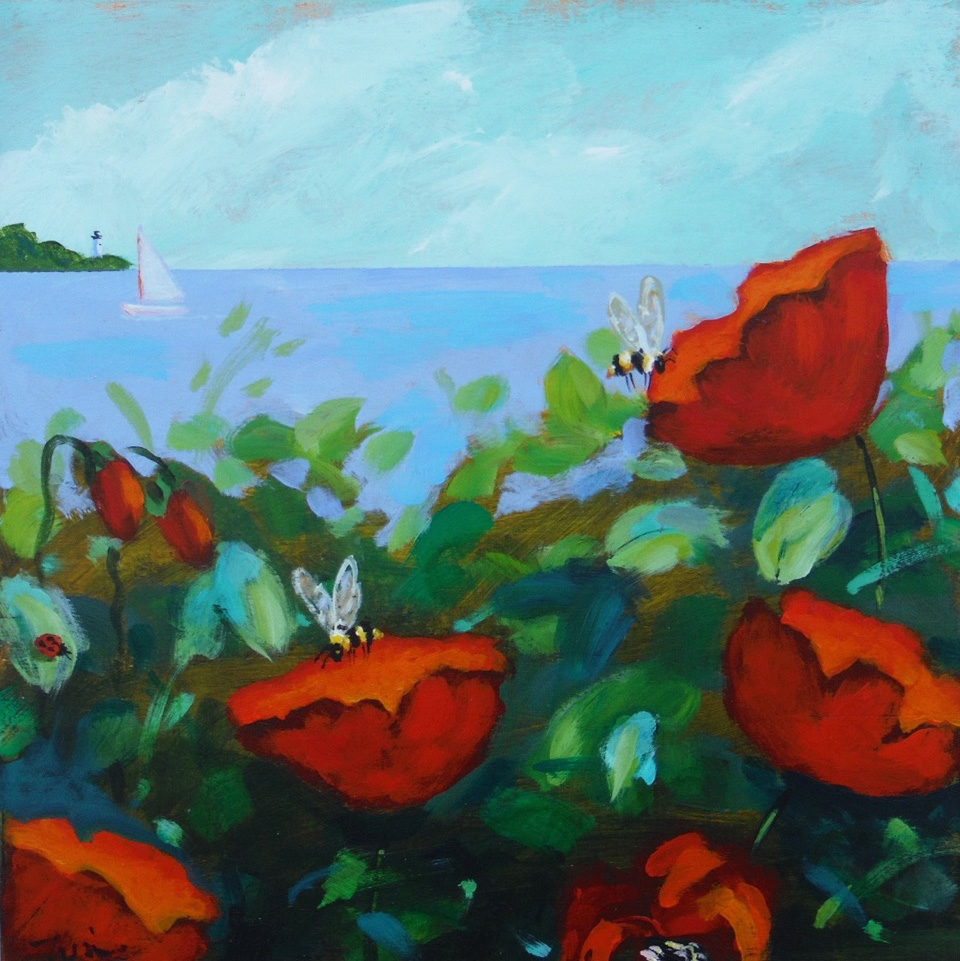 Poppies on Martha's Vineyard,  2017 Acrylic on board 10 x 10 inches