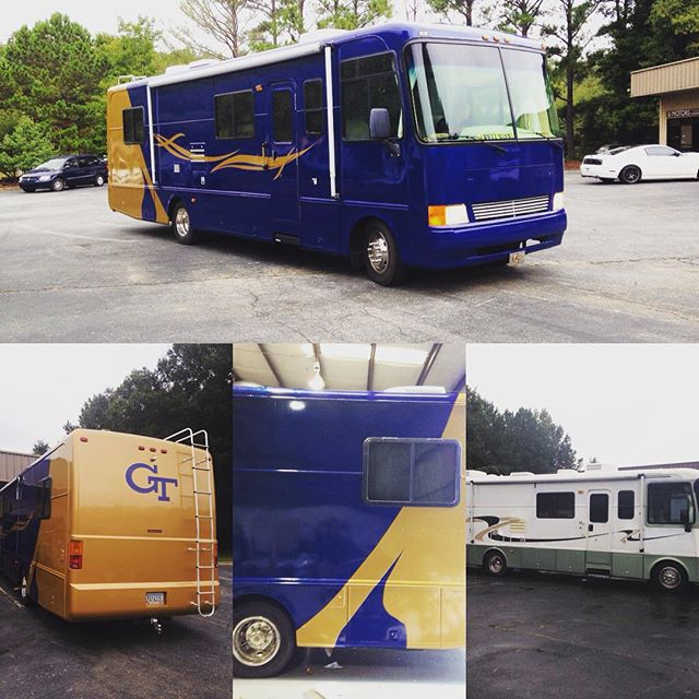 Recently completed a full color change of epic proportions. 3 rolls of @3mgraphics gloss metallic blue and gold metallic film transformed this 13 year old RV from its faded and peeling exterior to showroom clean! #toomuchcaulking #foxywraps #3mwraps #3mcertified #atlanta #atlantawraps #vehiclewraps #vinylwrap #layednotsprayed #arlon #oracal #hexis #avery #satinwraps #itaintpaint #carwrap #wrappedworld #wrapitall #ffellers #ptc #atl #rvwrap #rvlife #rvliving