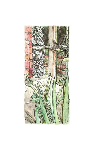 The Velvet Cloak Inn: Front Gate, pen & ink and watercolor on paper, 5.5. x 8.5 in, 2016