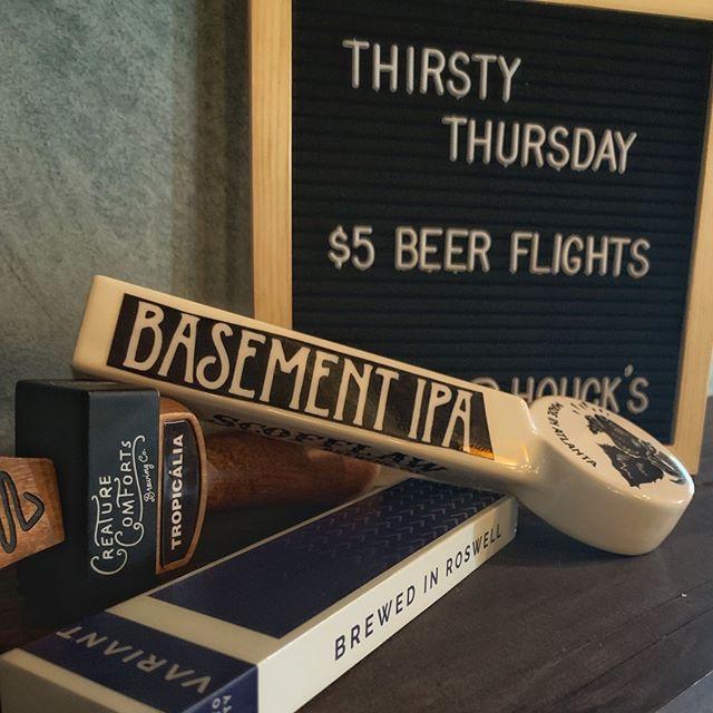 Who's thirsty? 🍻 #thirstythursday #beerflights #beerbeerbeer #houcksgrille #roswellga