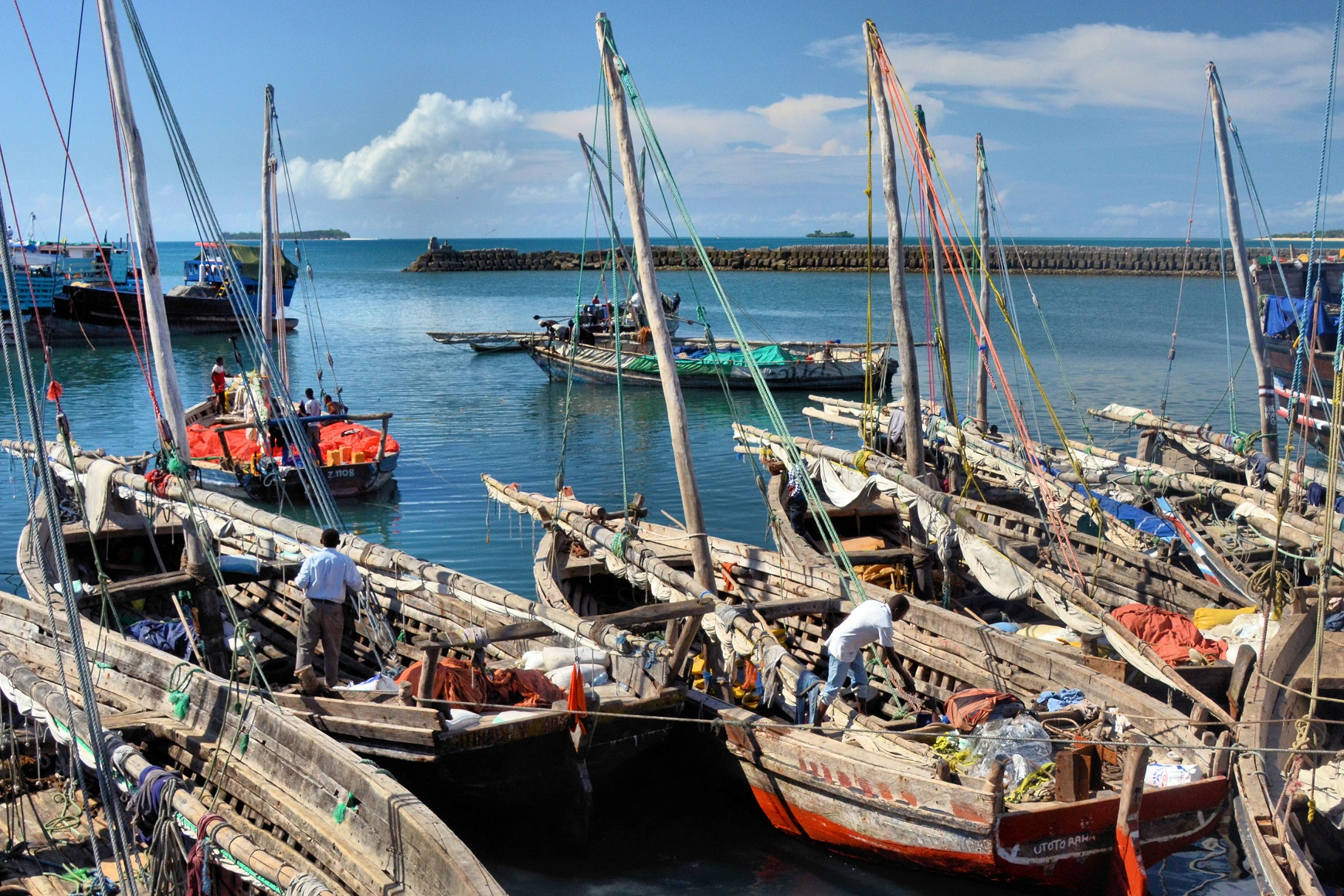 As they have done for centuries, Dhow merchant vessels are still taking their products across the Indian Ocean. These ancient boats have changed little since the 18th and 19th centuries when they were used to ship slaves and ivory from the African continent to the Zanzibar archipelago.