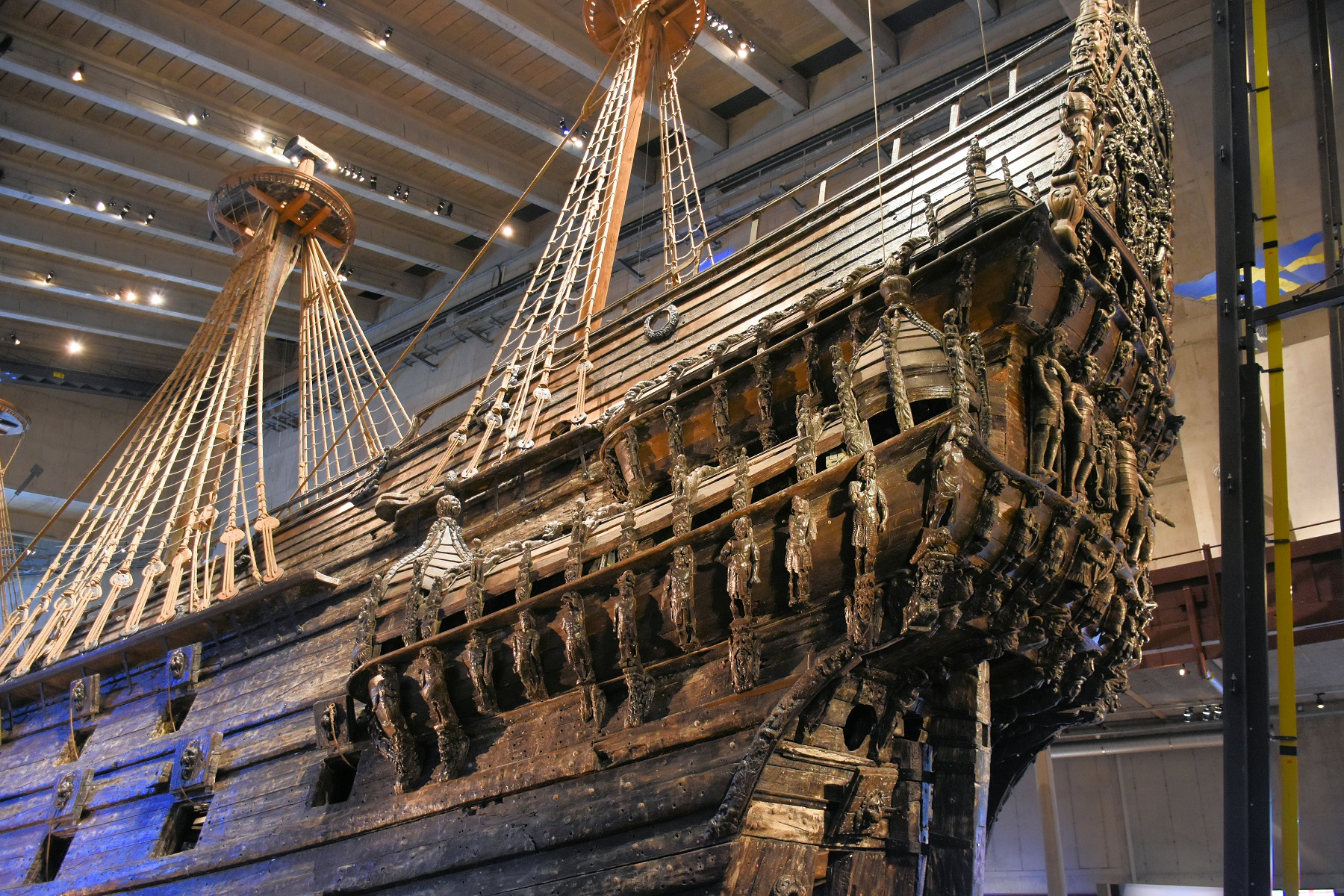 The amazingly well-preserved Vasa in her own museum in Stockholm. The ship sank 15 minutes into her maiden voyage in 1628. The beauty and power of the ship were unrivalled for her time.Unfortunately, the ship should have been 1 m (3.2 ft) wider.
