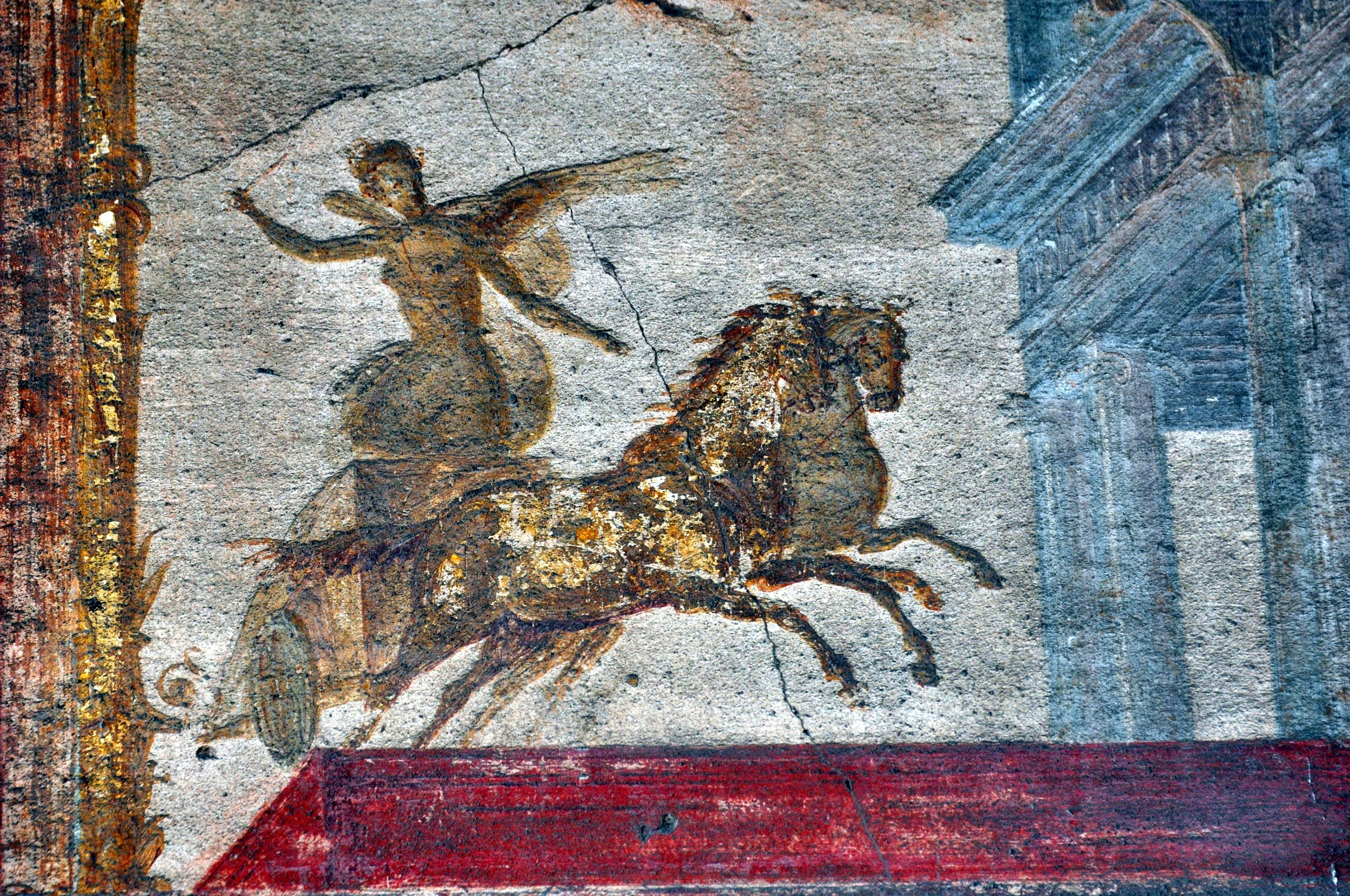 A fresco in an excavated house in Pompeii. The town was hidden under mountains of ash and forgotten for 1,600 years.