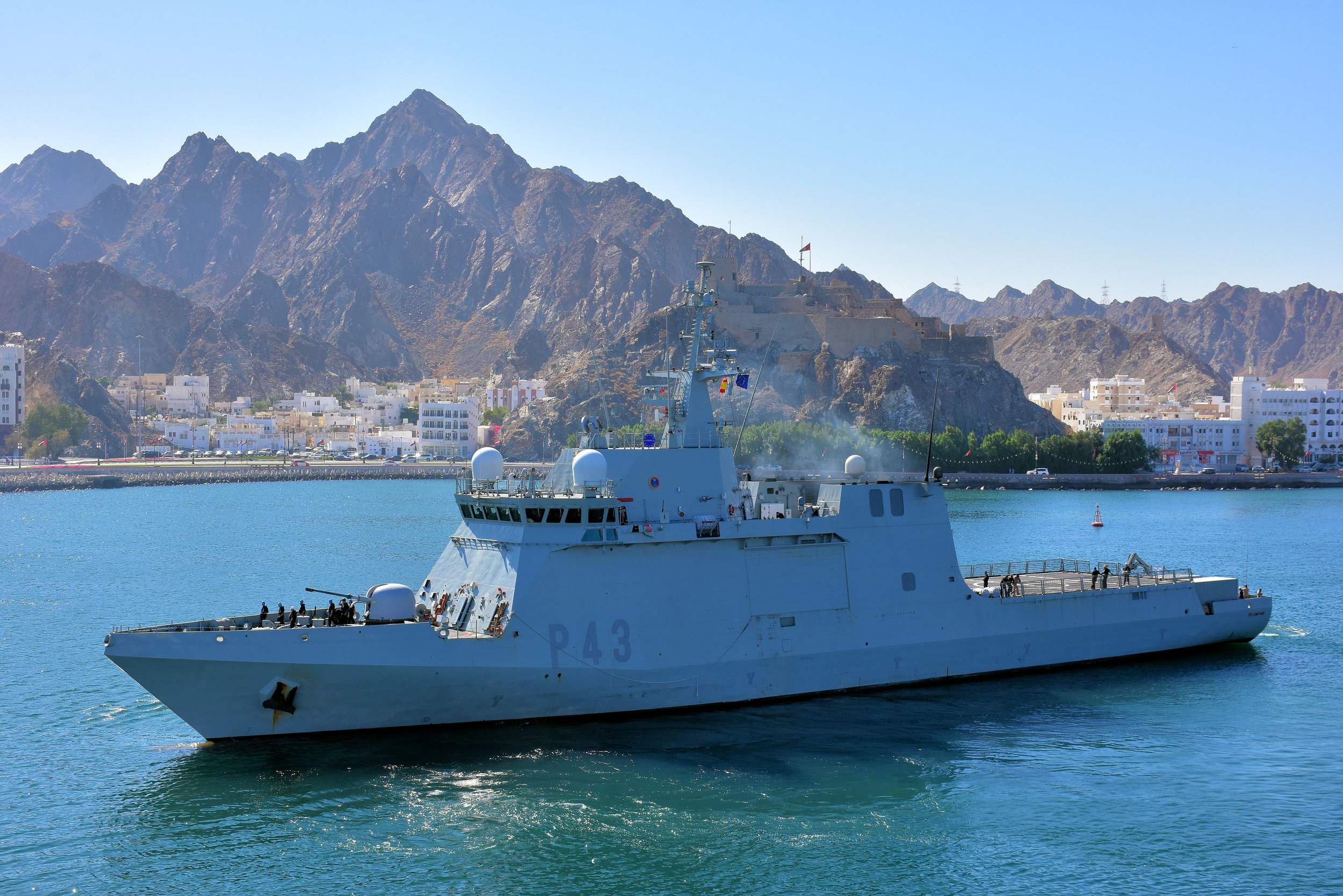 The ESPS Relampago, a Spanish war ship, leaves the port of Muscat, Oman unmarked. The vessel is part of an EU escort fleet. Its task is to patrol the pirate infested water in the Gulf of Aden and to escort humanitarian cargo ships safely to port.