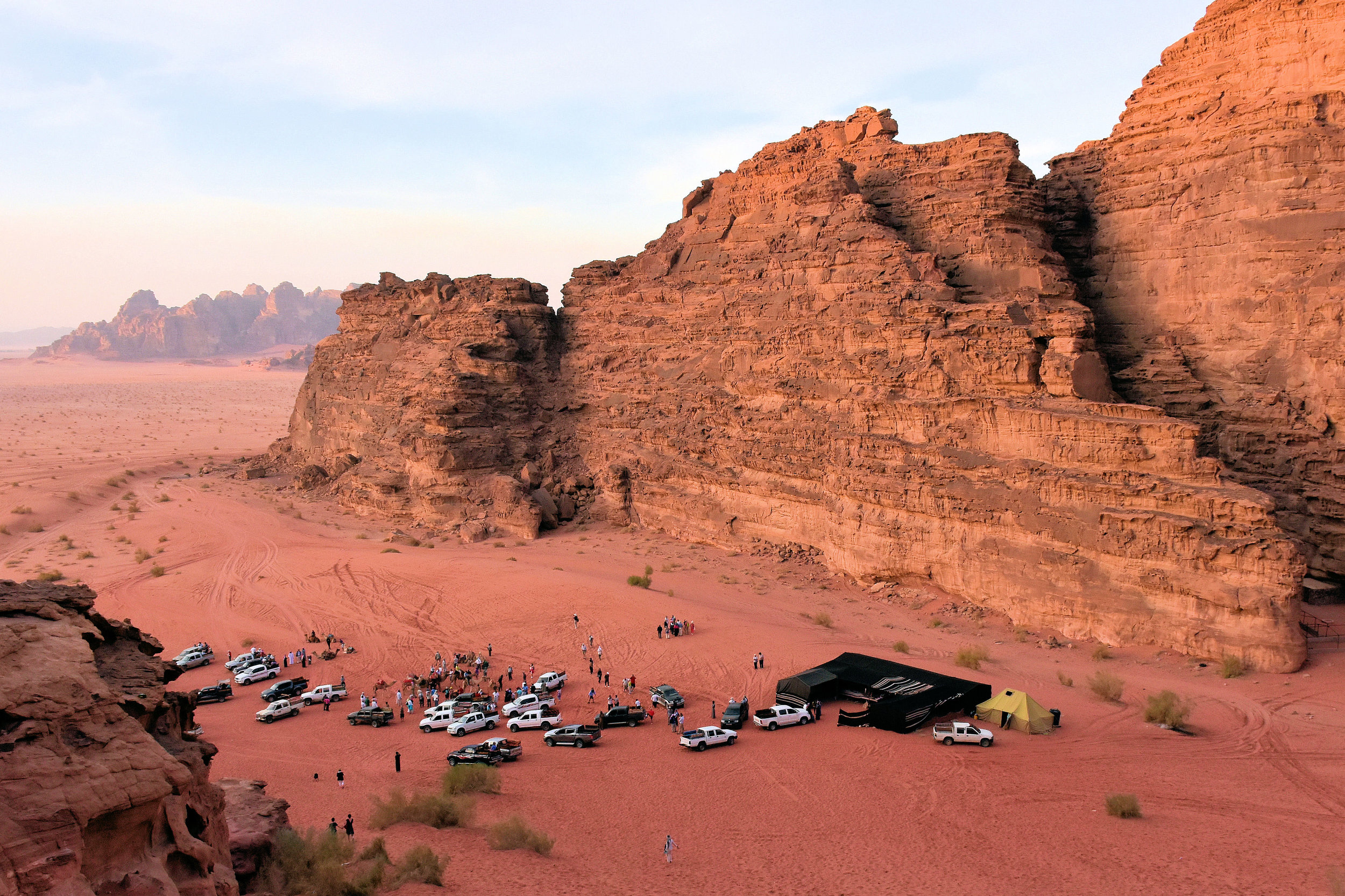 A four-wheel drive excursion at Wadi Rum is one of the most popular tourist activities in the desert. Not very peaceful, but incredibly scenic - especially at sunset.