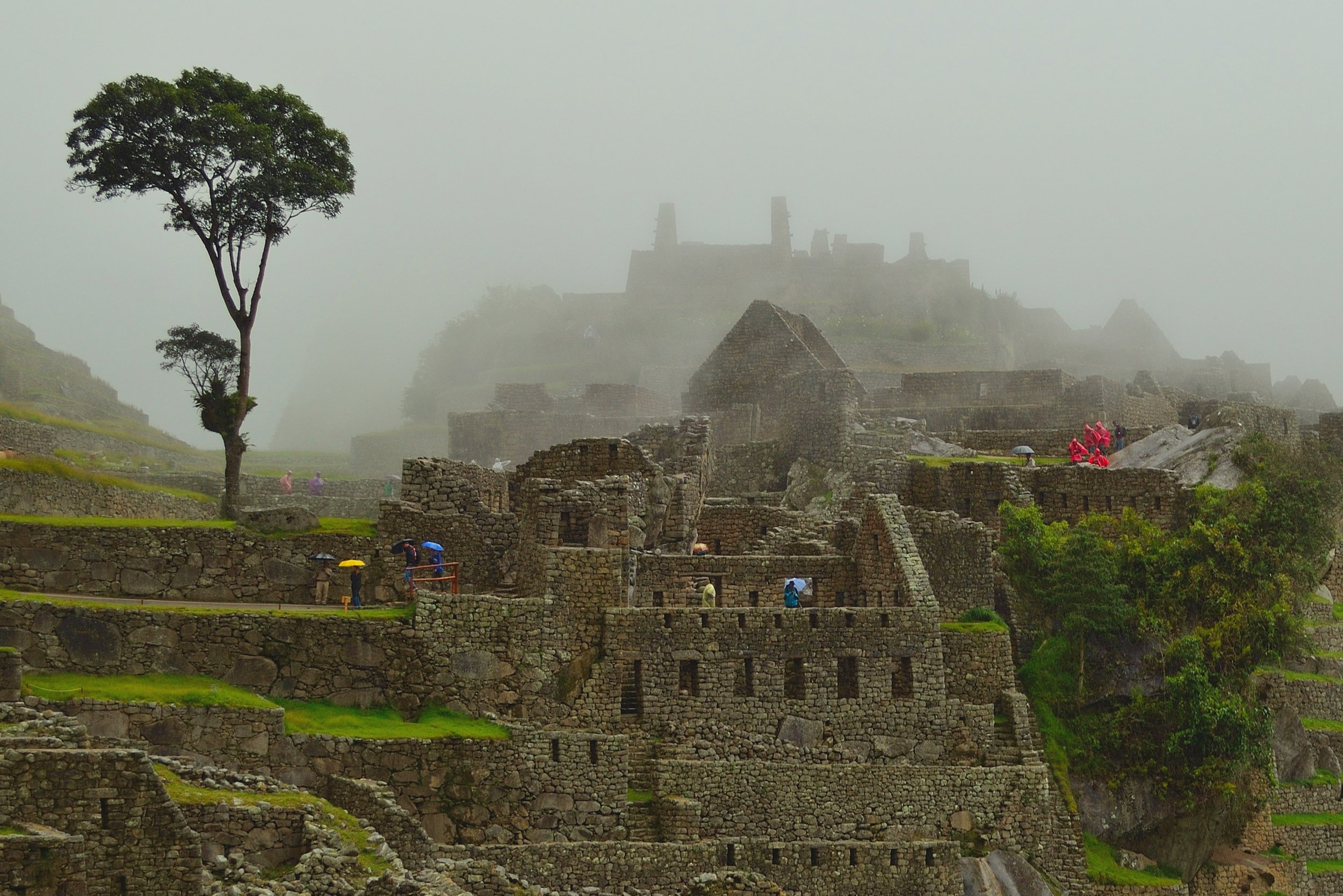 Clouds, fog and rain are a familiar sight at Machu Picchu. The weather up here in the mountains is unpredictable.