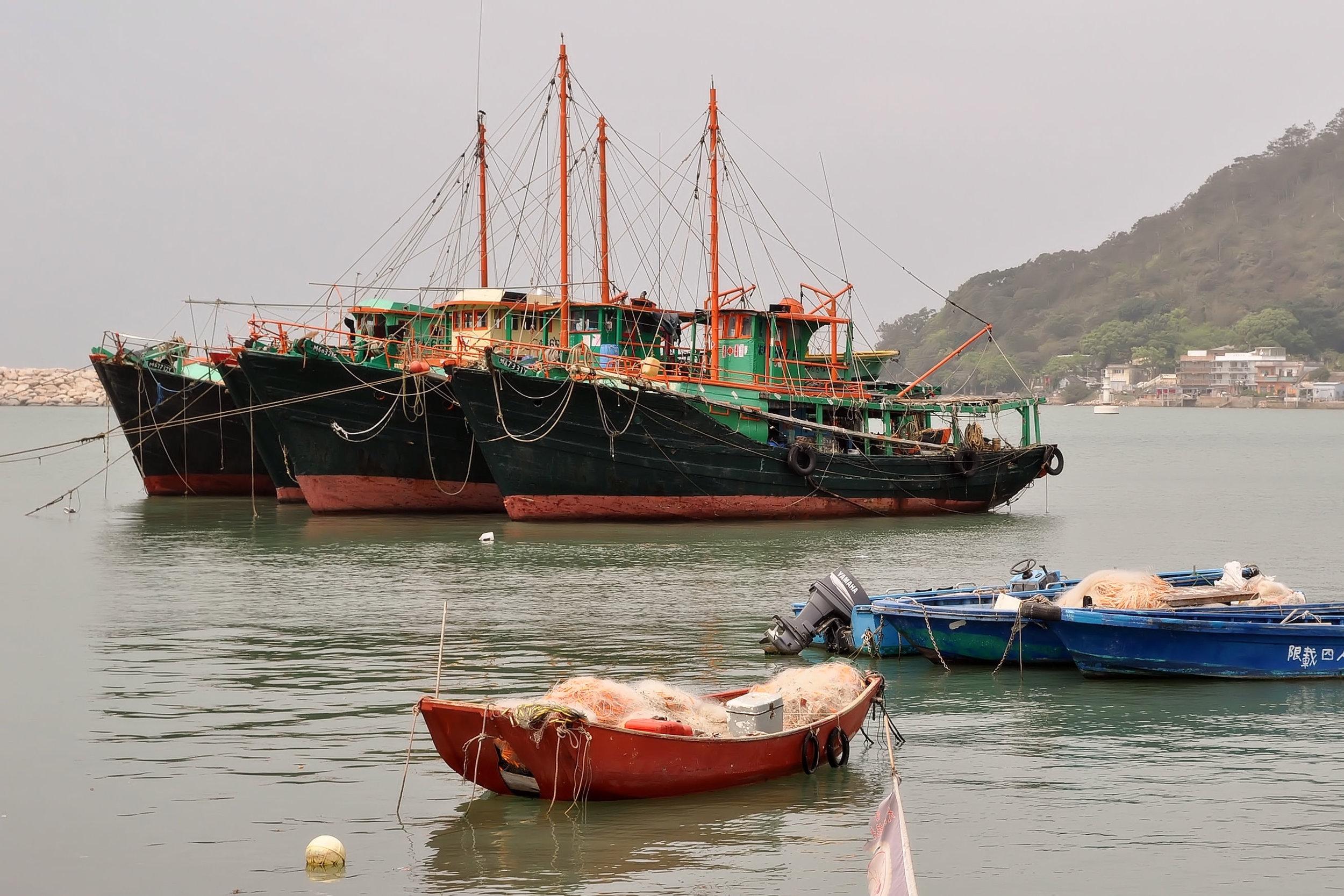 Fishing boats in the fishing village of Tai O on Lantau Island, Hong Kong.