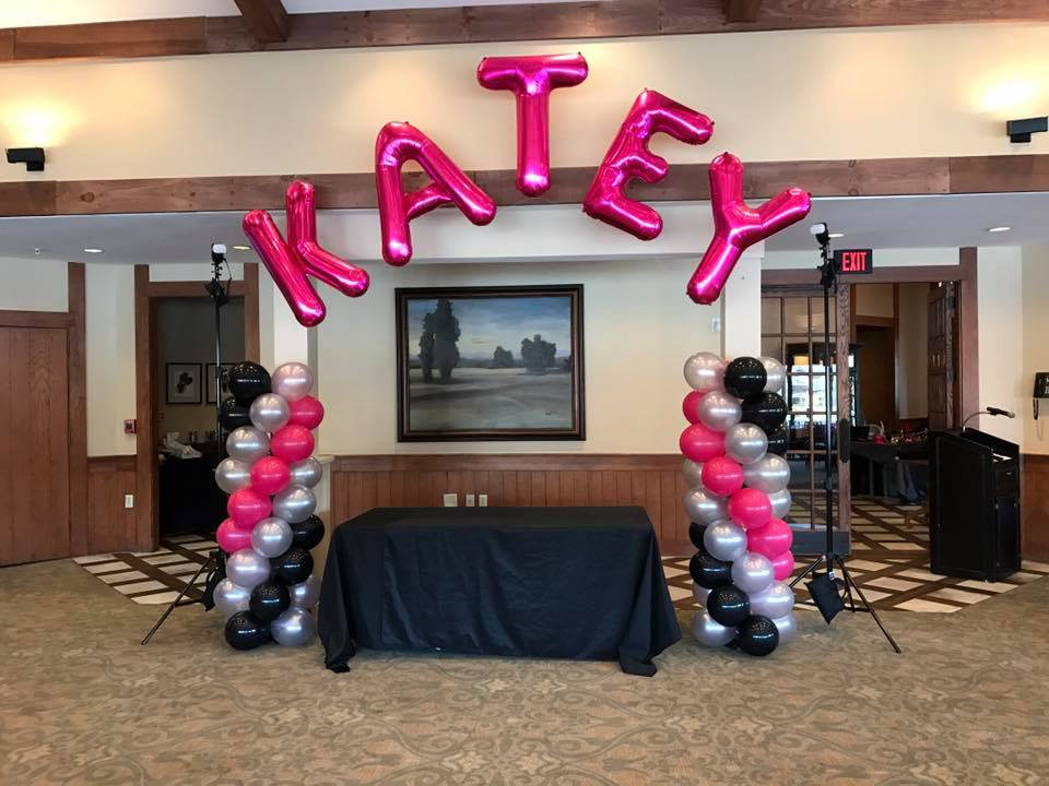 Balloon Columns with Name Arch
