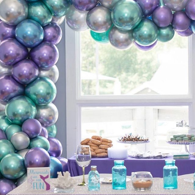 Stunning organic balloon Demi arch we did for a Mermaid theme baby shower 😍  #balloons #balloondecor #organicballoonarch #qualatex #chrome #balloonarch #balloongarland #ncevents #raleigh #knightdale #rdu #rtp #events #eventplanner #eventprofs #mermaid #underthesea #jujabel