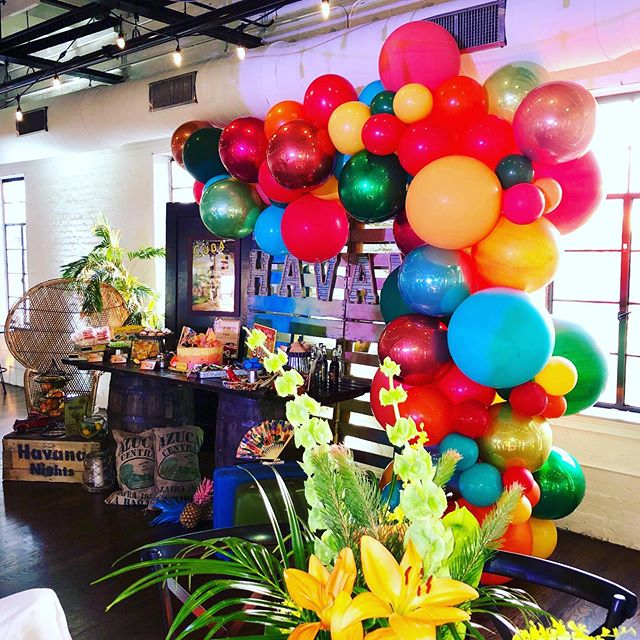 Another amazing opportunity to collaborate with the one and only @anajevents ... her attention to detail brought this Havana Nights theme to life! We had Cuba up in N.C.  Organic balloon Demi arch and balloon clusters by us 🎈  #balloons #balloondecor #organicballoonarch #organicdemiarch #havananights #cuba #party #charityevent #attentiontodetail #events #eventplanner #ncevents #jujabel