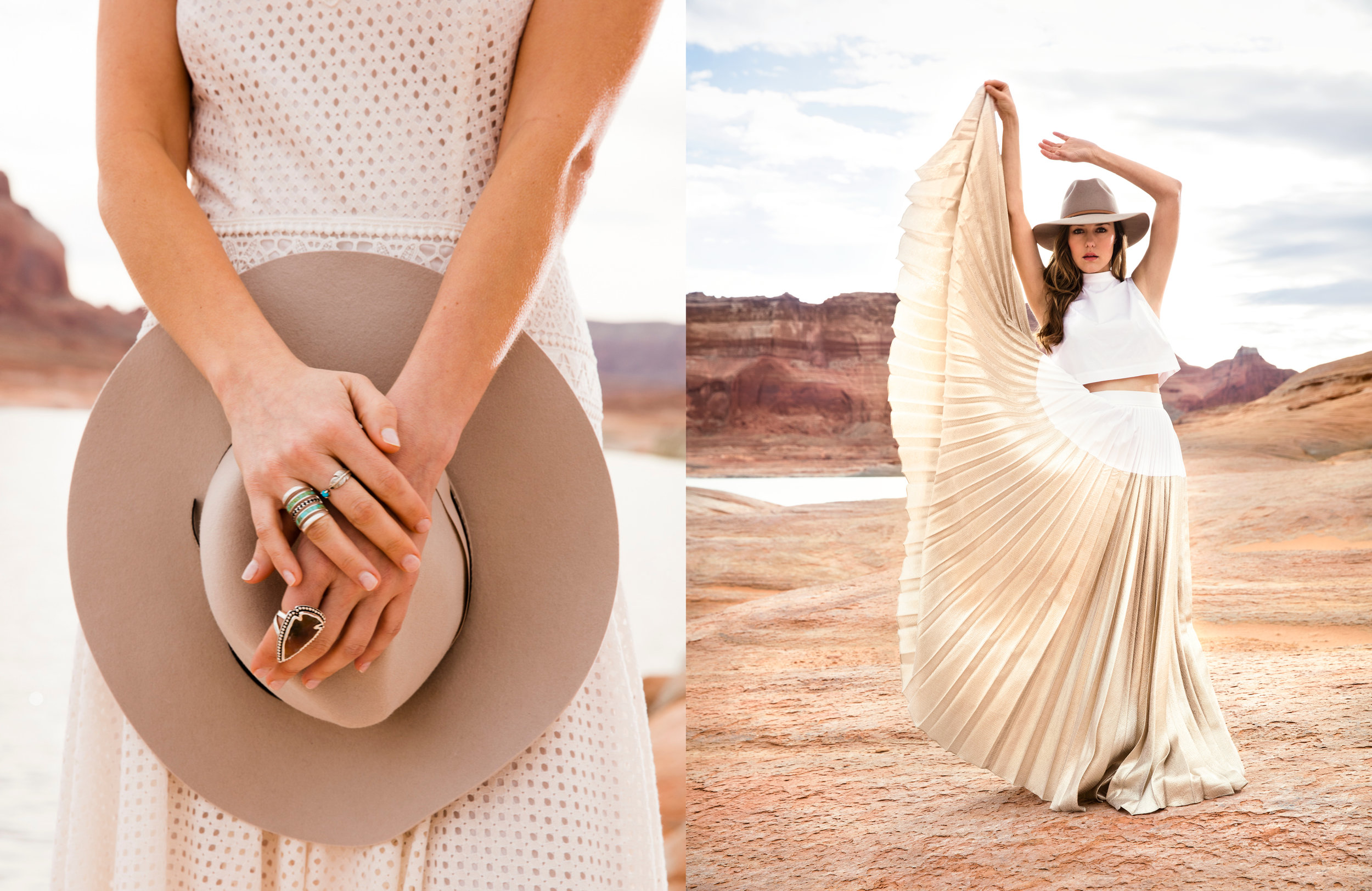Photo, Erin Kunkel; Wardrobe, Stephanie Quadri; Hair/MUA Patrycja Korzeniak; Shot on location at Lake Powell