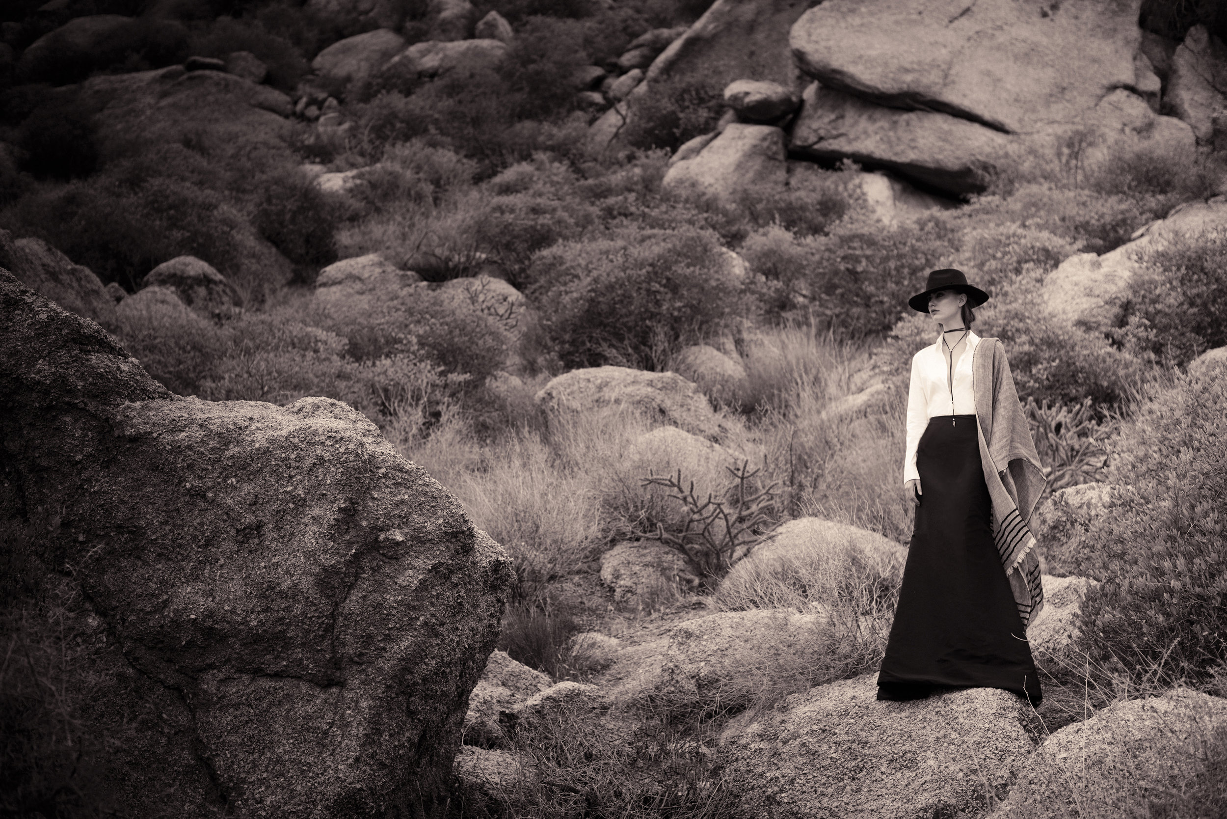 Photo: Christine Johnson; Wardrobe: Margaret Merritt; Hair/MUA: Diane Aiello; Shot on location at the Sonoran Desert Preserve