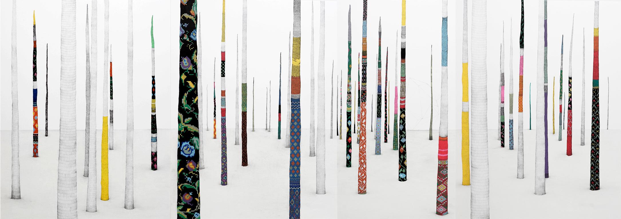 """""""promenade"""" 2016, 186X65cm, crayon papier/acrylique"""