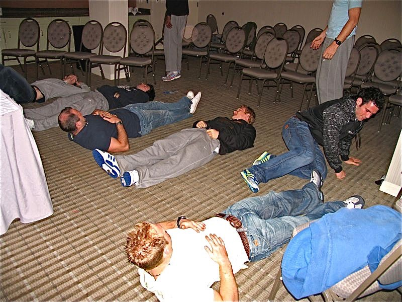 England Rugby 7s squad experiencing hypnosis