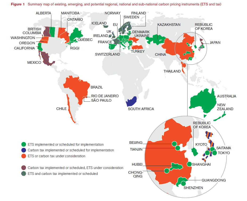 Source: World Bank Group,  2014 State and Trends of Carbon Pricing