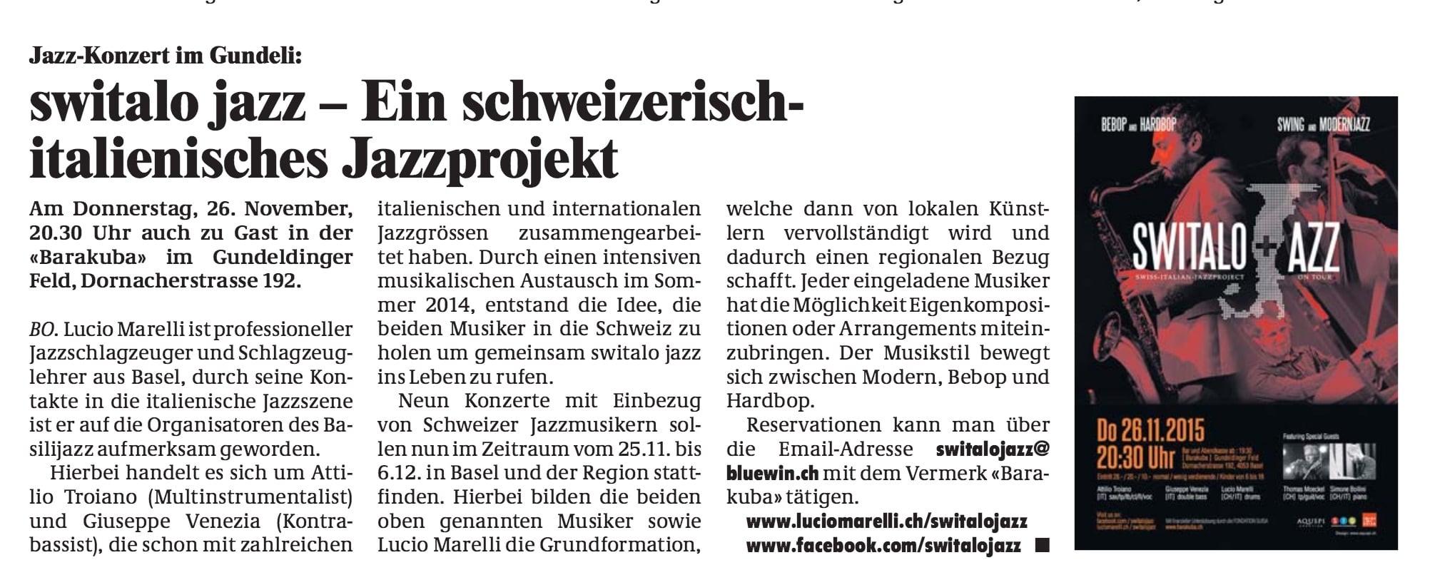 Gundeldinger Zeitung, Nov 2015