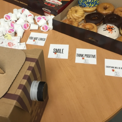 We took coffee and doughnuts to families in the Intensive Care Unit waiting room at Henry Ford Hospital in Detroit on Make a Difference Day.