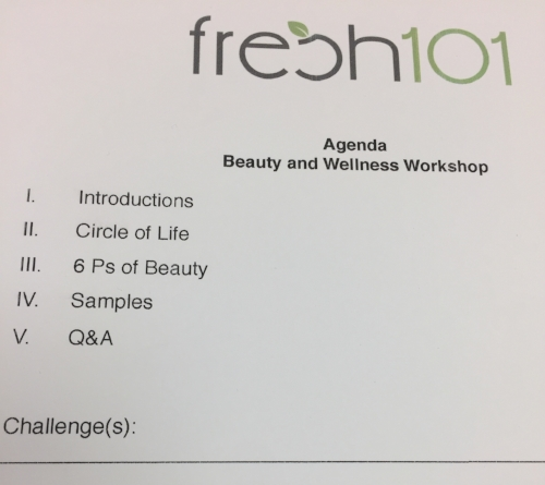 The agenda for the day from Fresh 101.