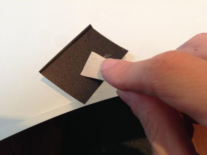 Sanding the left quadrant of the tip