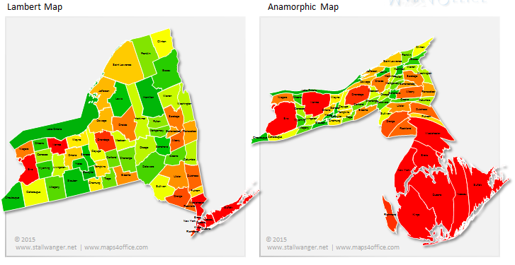New York State counties by geography and relative population size (maps4office)