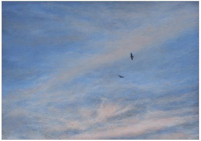 "Two Birds Ascending  5 x 7""  oil on panel  2002"