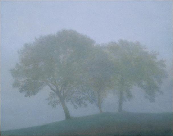 """Trees in Fog, Bevagna 8""""x10"""", oil on panel, 2007"""
