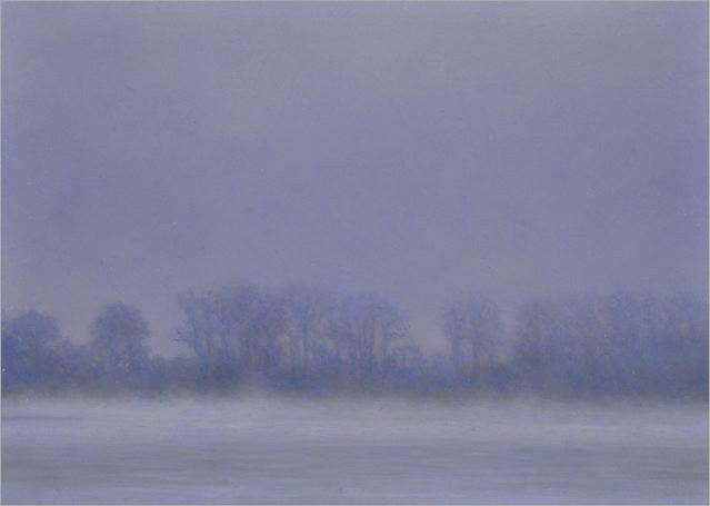 "Morning Fog, Columbia River  5 x 10.5""  oil on panel  2008"