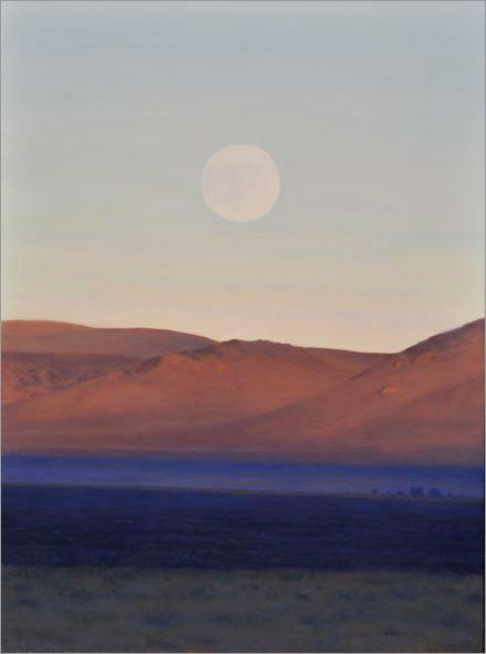 "Moonrise, East of Mono Lake  12 x 9""  oil on panel  2008"