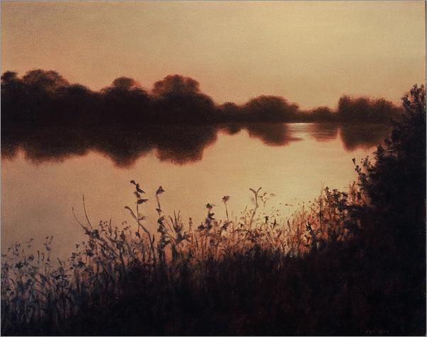 """Dusk on the Delta  8 x 10""""  oil on panel  2006"""