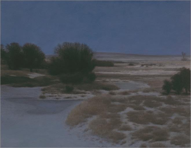 "Winter Moonlight, Clear Creek  14 x 18""  oil on panel  2010"