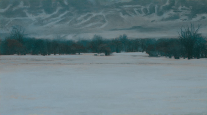 "Winter Landscape near Ucross  12 x 20""  oil on linen  2008"