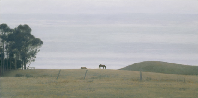 """Two Horses, Hollister Ranch  8 x 16""""  oil on panel  2009"""