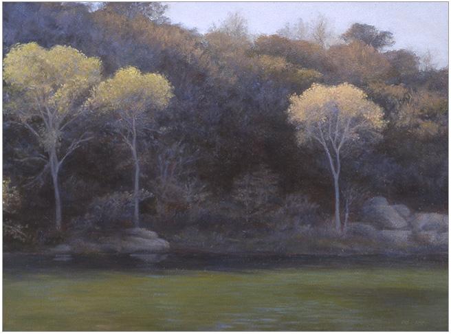 "Three Trees Aglow, Santa Ynez River  9 x 12""  oil on panel  2006"