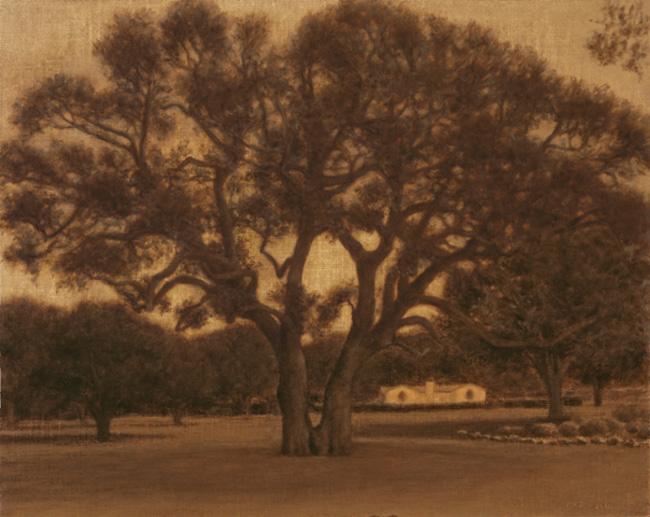 "Two Oaks, Bidwell Estate  9 x 20""  oil on panel  2010"