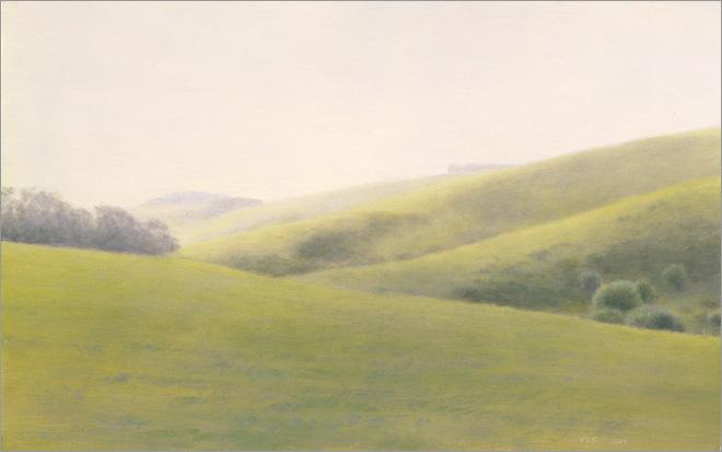 "Green Hills, Hollister  5 x 8""  oil on panel  2009"