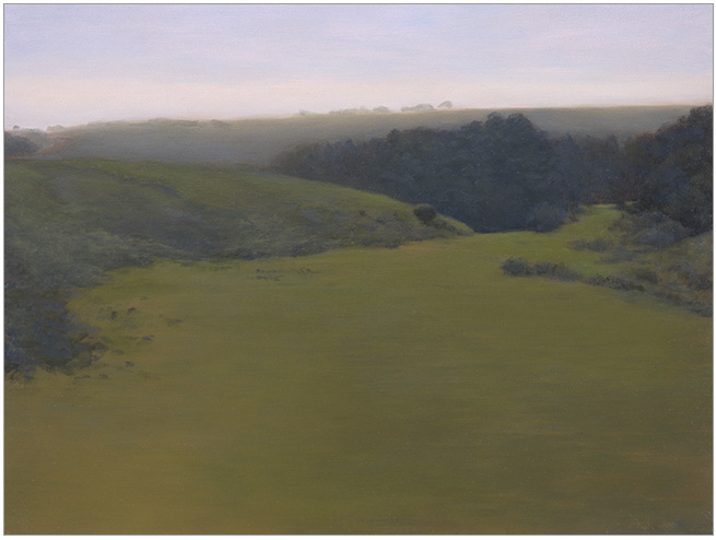 """Green Field Greying, Bixby Ranch  9 x 12""""  oil on panel  2006"""