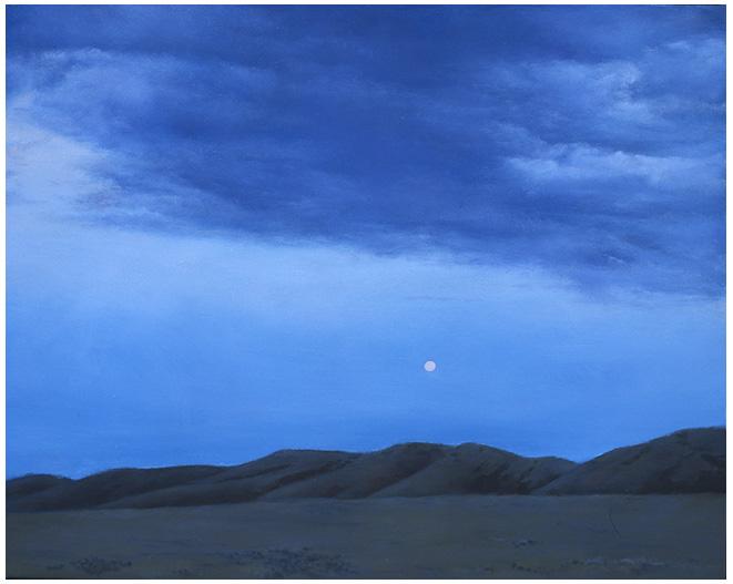 """Full Moon over Beckton  8 x 10""""  oil on panel  2004"""